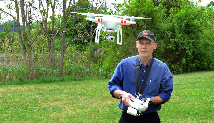 Vern Williams controlling a drone