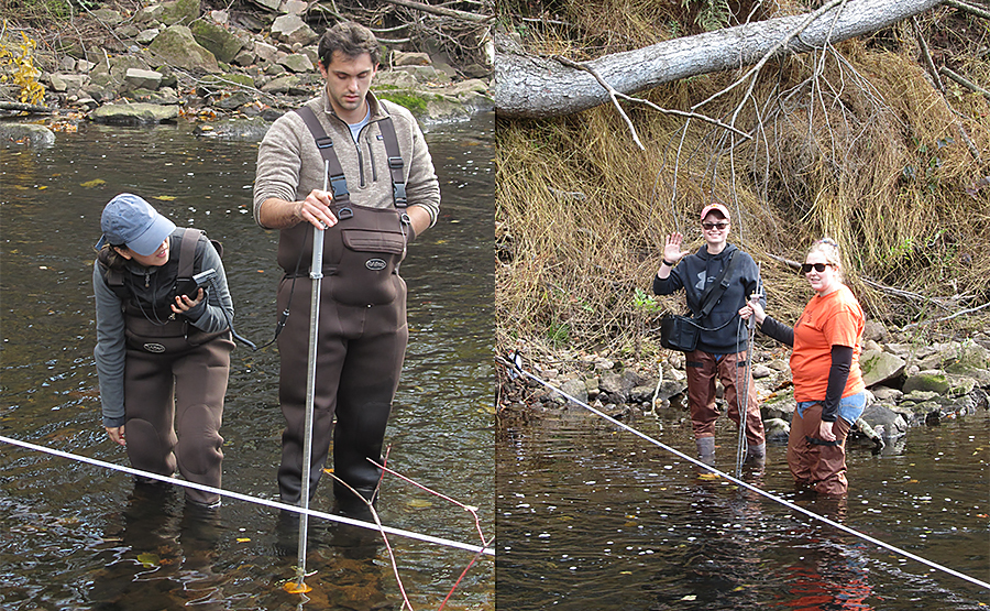 Two photographs of students in waiters while in water taking measurements