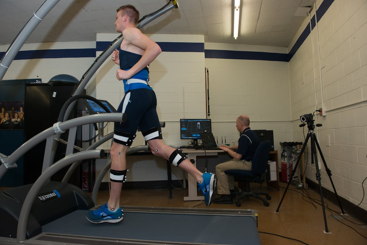 A gait analysis being performed