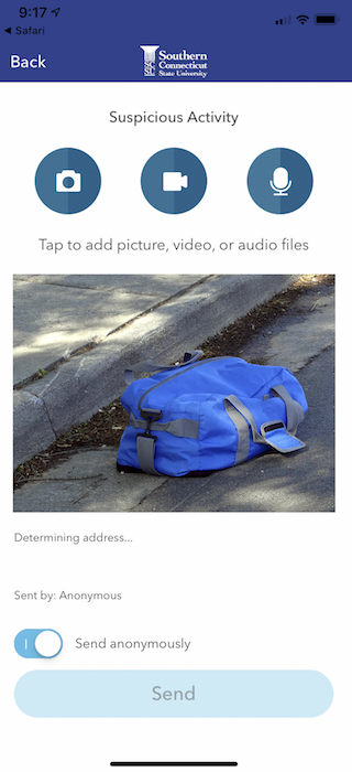 LiveSafe Interface - Image of Suspicious Duffel Bag Being Reported