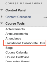 picture of the course tools menu in blackboard highlighting the Blackboard Collaborate Ultra tool name