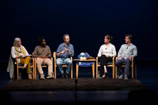 Narrative 4 speakers on stage in 2014