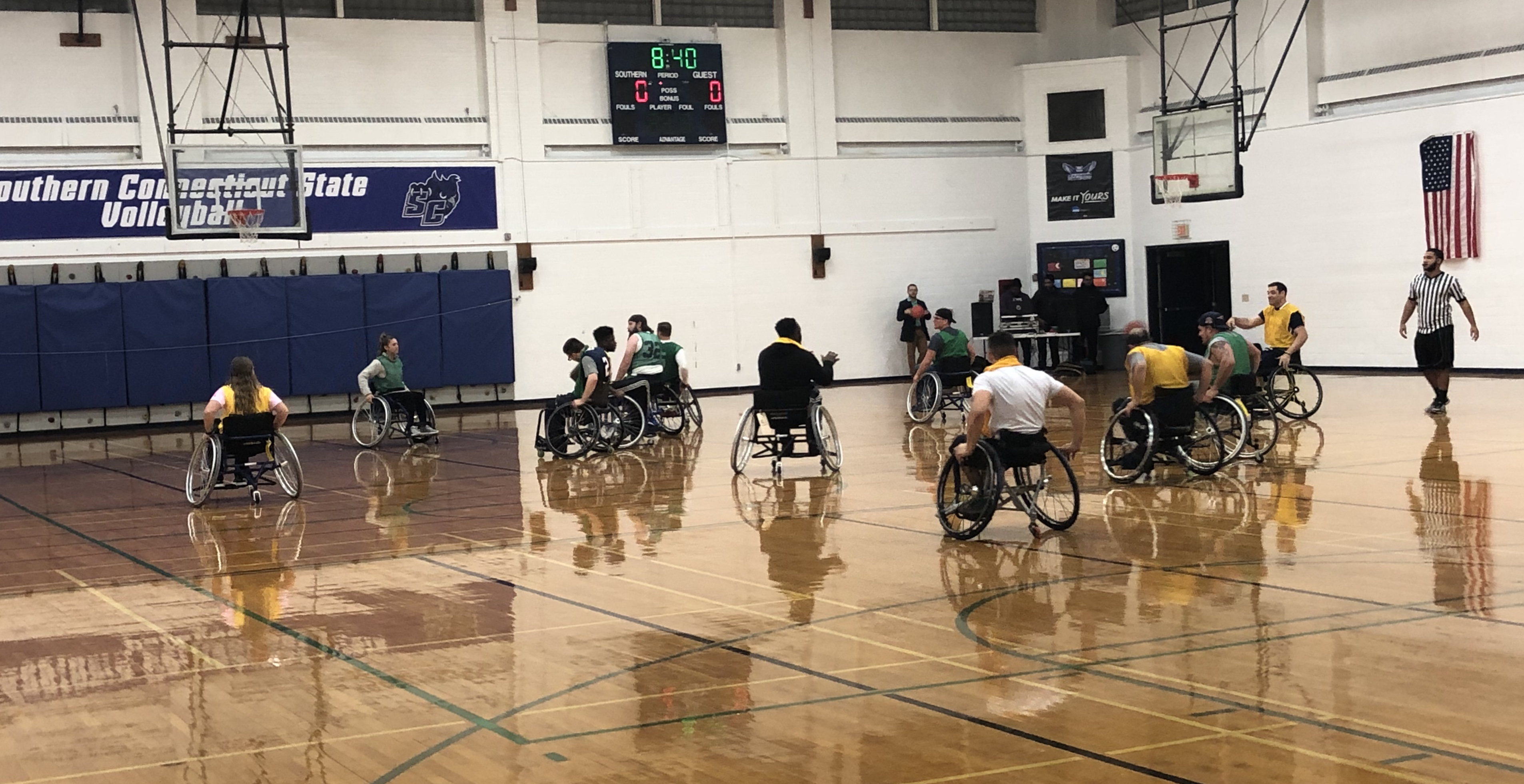 A game of wheelchair basketball